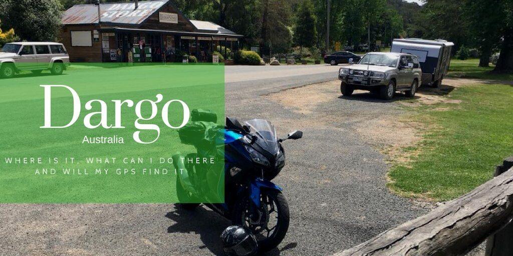 motor bike, 4WD outside the Dargo General Store