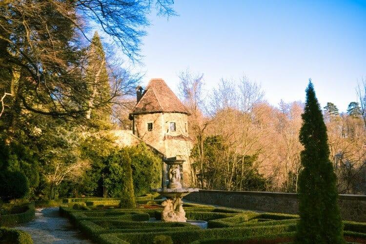 manicured gardens at Ksiaz Castle
