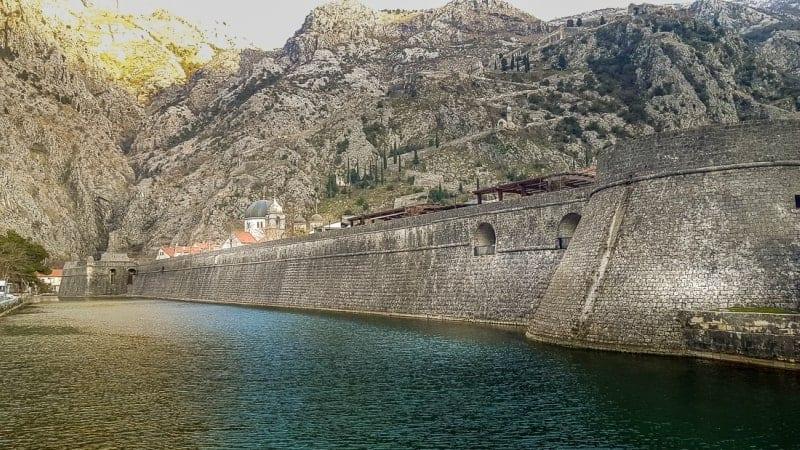 The defensive walls at Kotor Montenegro