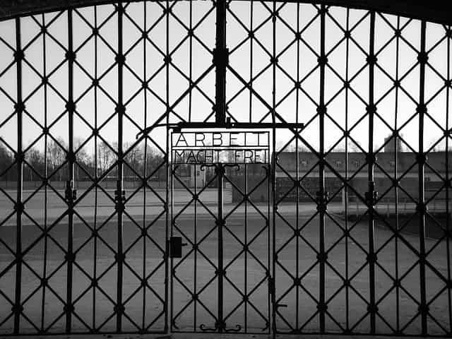 The gates to Dachau