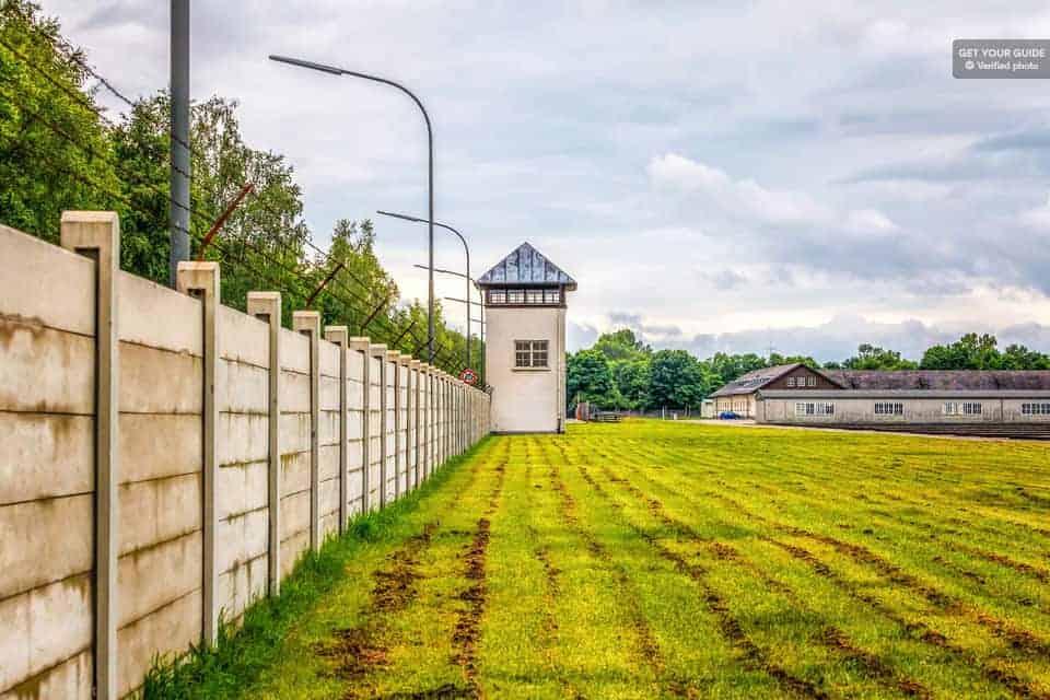 The guard towers at Dachau