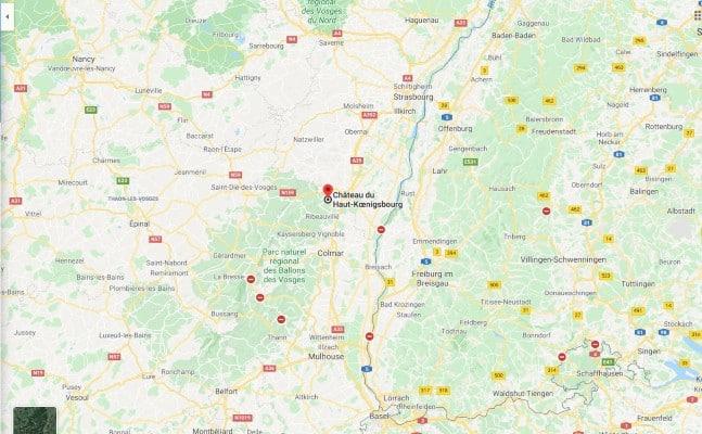 map of Koenigsbourg location