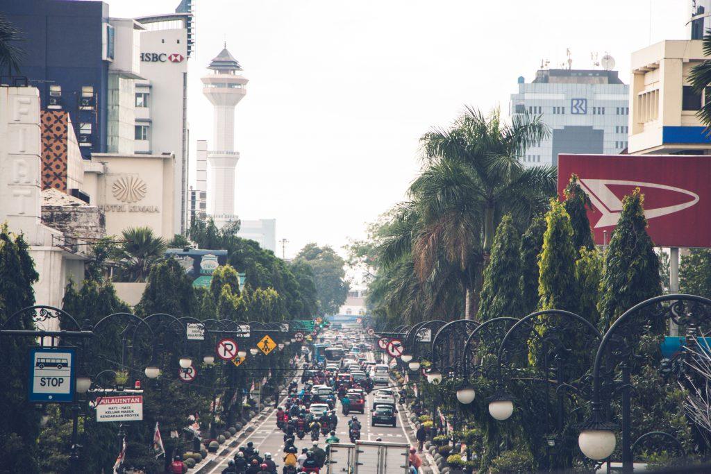 The main shopping street of bandung Indonesia