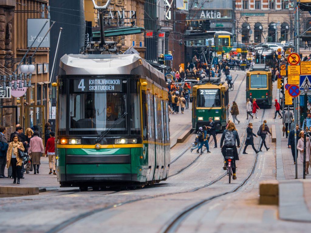 Shopping street in Helsinki