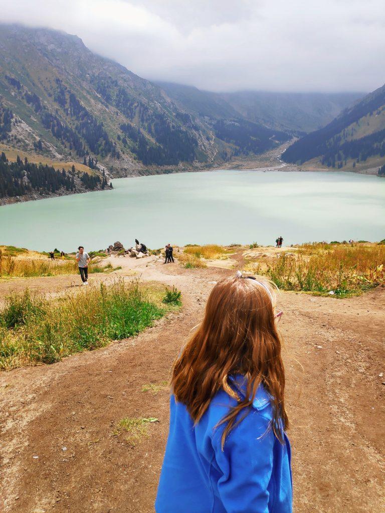 teenagers visiting Big Lake Almaty