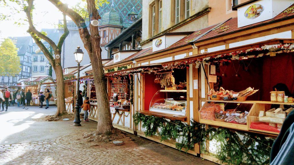 Christmas markets stalls at Strasbourg