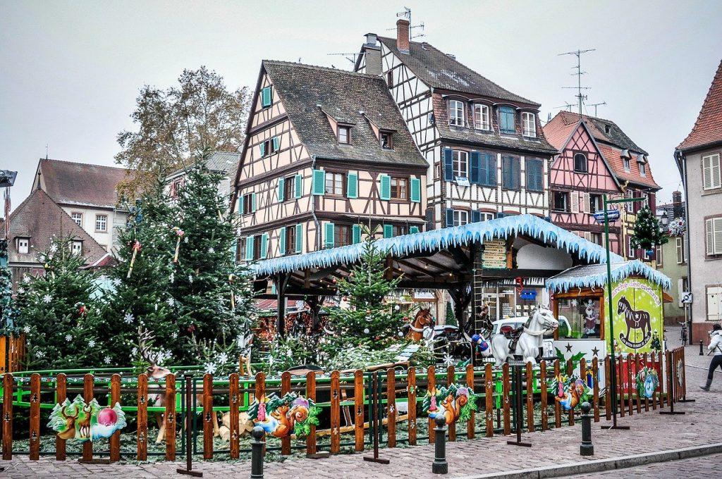 amusement rides at Colmar christmas markets