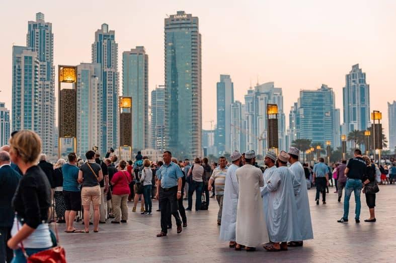 sunset on a city street in Dubai