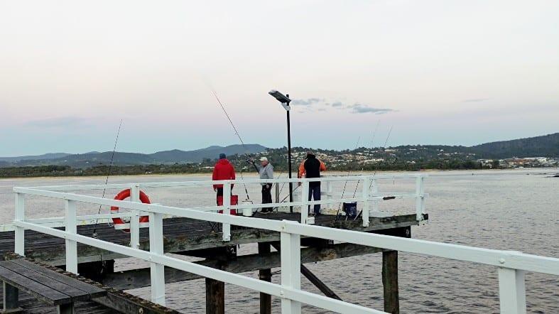 fishing off the Merimbula wharf